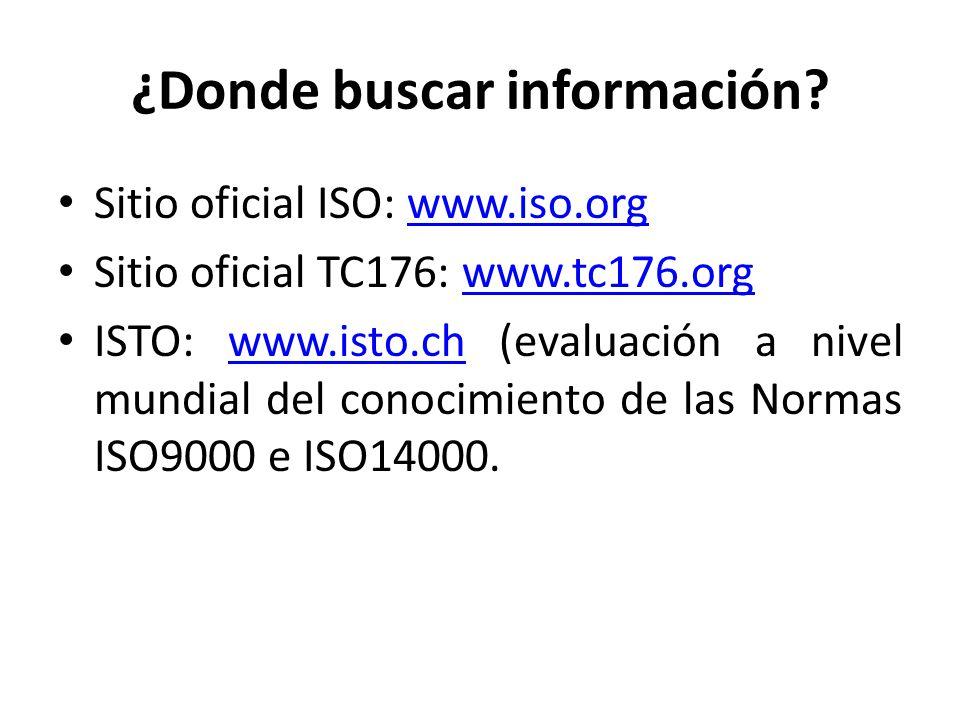 ¿Donde buscar información? Sitio oficial ISO: www.iso.orgwww.iso.org Sitio oficial TC176: www.tc176.orgwww.tc176.org ISTO: www.isto.ch (evaluación a n