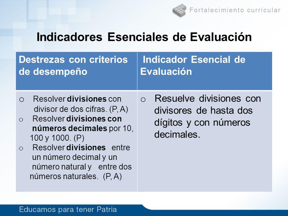 Indicadores Esenciales de Evaluación Destrezas con criterios de desempeño Indicador Esencial de Evaluación o Resolver divisiones con divisor de dos ci