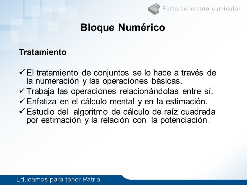 Bloque Numérico Tratamiento El tratamiento de conjuntos se lo hace a través de la numeración y las operaciones básicas. Trabaja las operaciones relaci