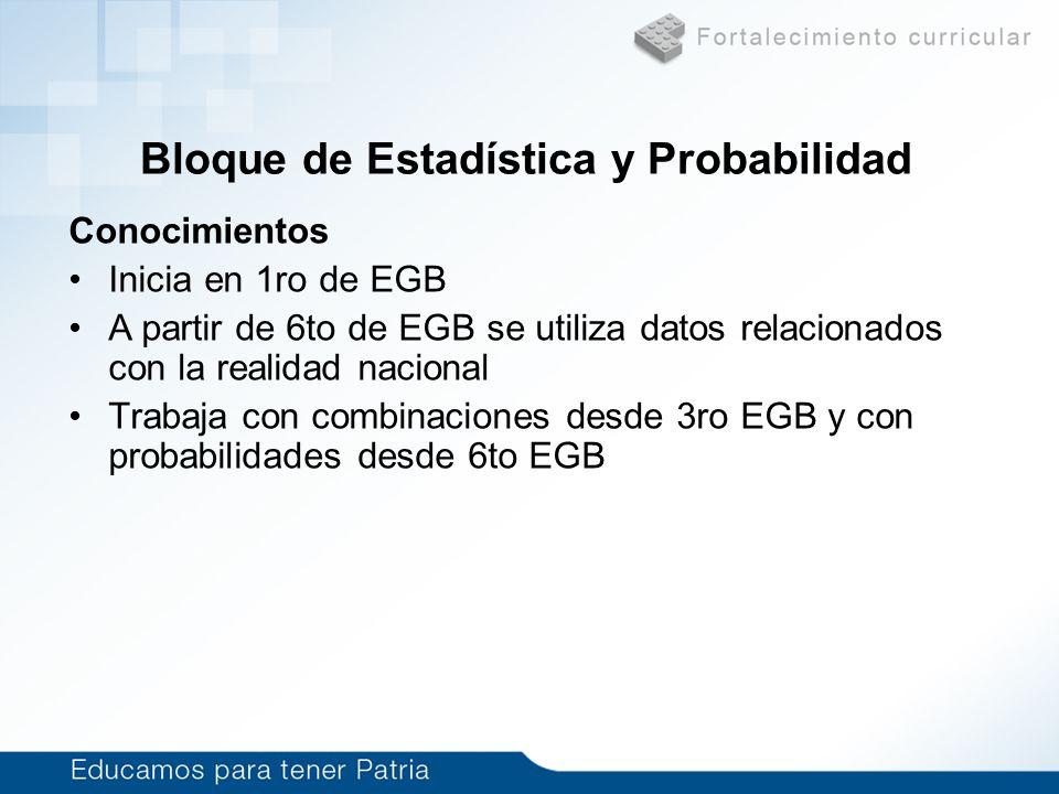 Bloque de Estadística y Probabilidad Conocimientos Inicia en 1ro de EGB A partir de 6to de EGB se utiliza datos relacionados con la realidad nacional