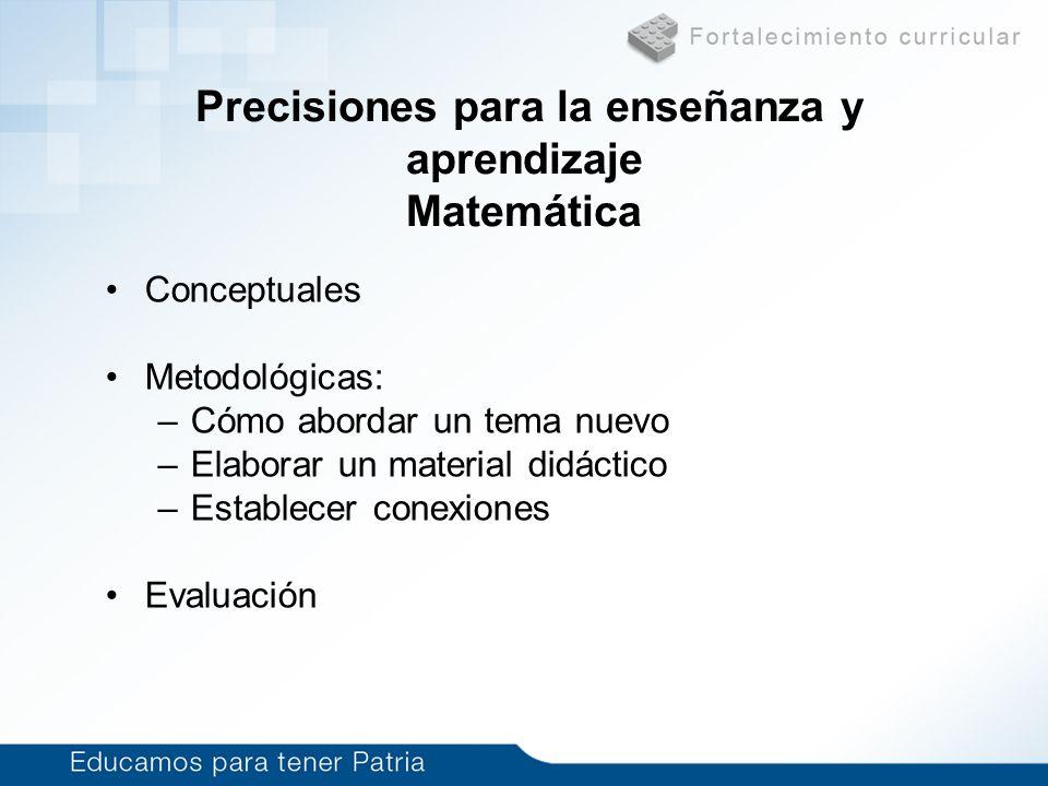 Precisiones para la enseñanza y aprendizaje Matemática Conceptuales Metodológicas: –Cómo abordar un tema nuevo –Elaborar un material didáctico –Establ