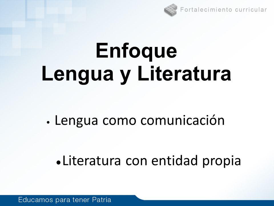 Haga clic para modificar el estilo de subtítulo del patrón 1/14/10 Lengua como comunicación Literatura con entidad propia Enfoque Lengua y Literatura