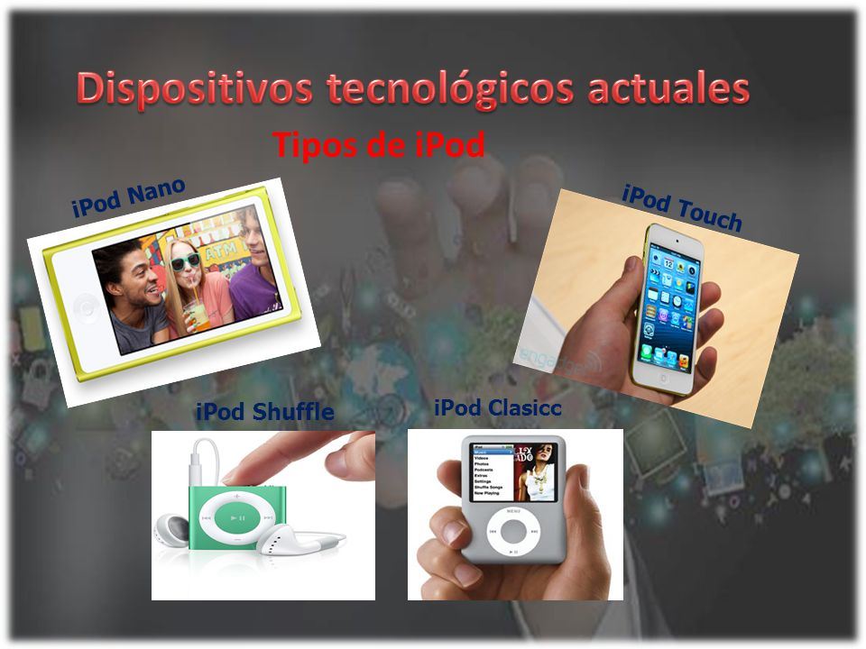 iPod Nano Tipos de iPod iPod Touch iPod Shuffle iPod Clasicc