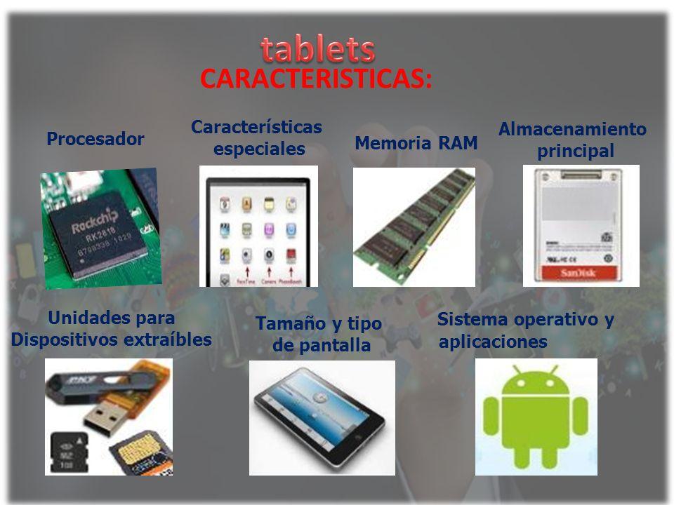 Procesador CARACTERISTICAS: Características especiales Memoria RAM Almacenamiento principal Unidades para Dispositivos extraíbles Tamaño y tipo de pan