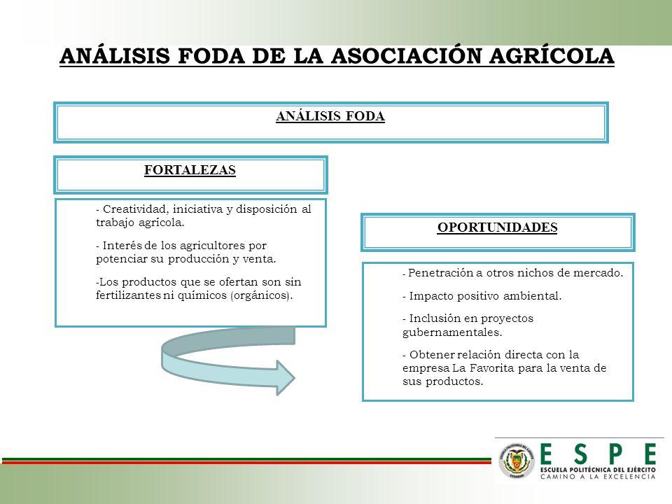 ANÁLISIS FODA DE LA ASOCIACIÓN AGRÍCOLA ANÁLISIS FODA FORTALEZAS OPORTUNIDADES - Creatividad, iniciativa y disposición al trabajo agrícola. - Interés