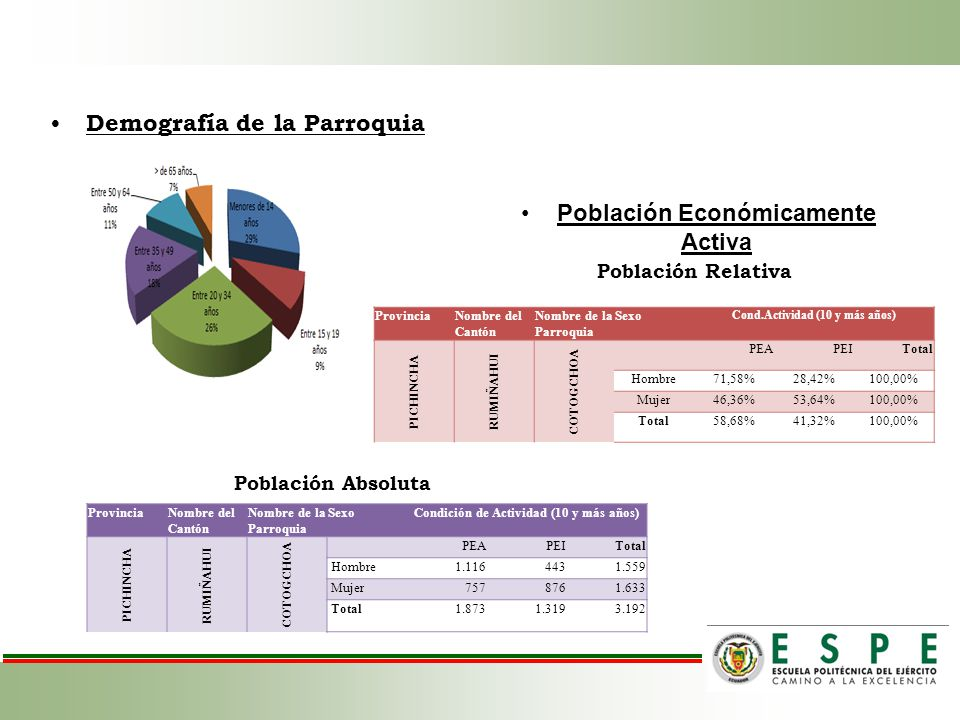 Demografía de la Parroquia Población Económicamente Activa ProvinciaNombre del Cantón Nombre de la Parroquia Sexo Cond.Actividad (10 y más años) PICHI