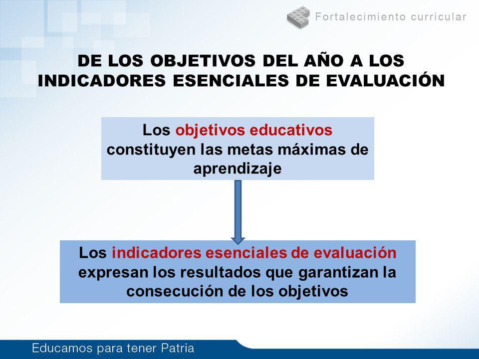 DE LOS OBJETIVOS DEL AÑO A LOS INDICADORES ESENCIALES DE EVALUACIÓN Los objetivos educativos constituyen las metas máximas de aprendizaje Los indicado