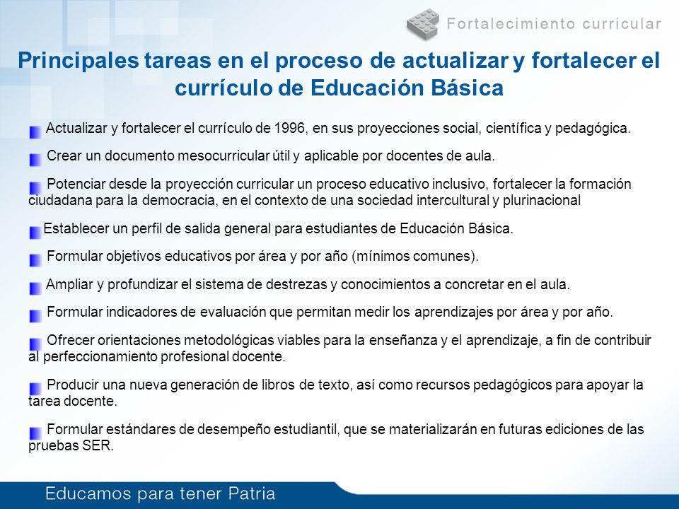 Currículo de Educación Básica (6 a 15 años) Problema Actualizar y fortalecer el currículo de 1996, en sus proyecciones social, científica y pedagógica