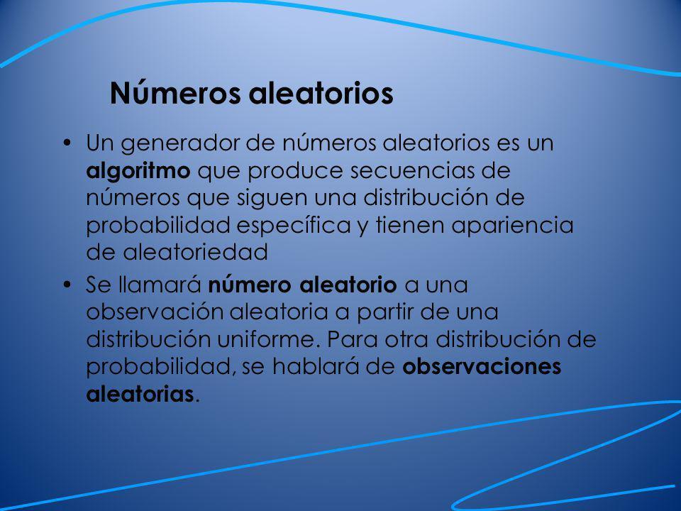 Números aleatorios Números aleatorios enteros