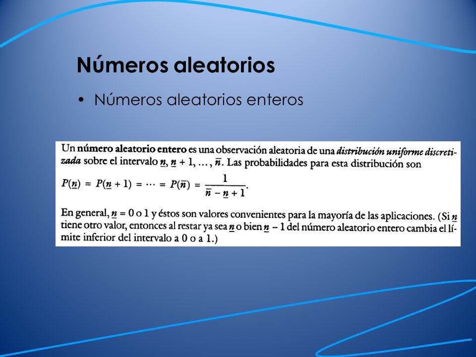 Números aleatorios Números aleatorios uniformes Números pseudoaleatorios= generados por una computadora