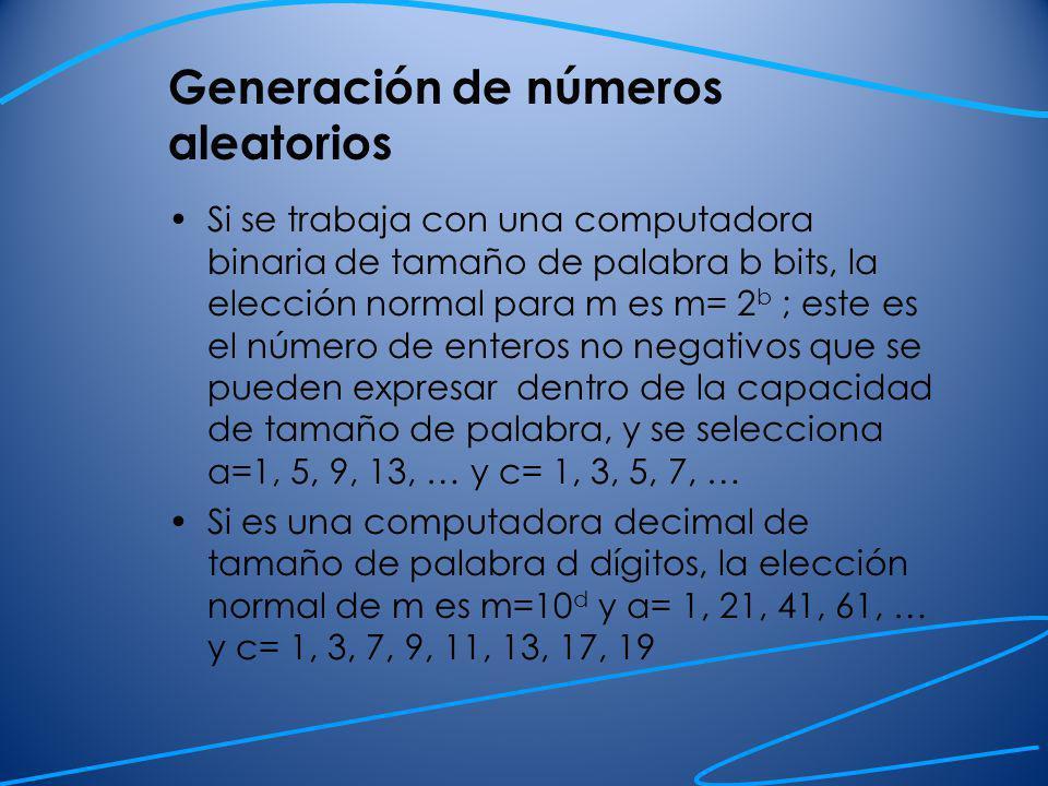 Generación de observaciones aleatorias a partir de una distribución de probabilidad Suponga que quiere generar una variable aleatoria que tiene la siguiente función de distribución Para hacer esto generamos números aleatorios uniformes y decimos: