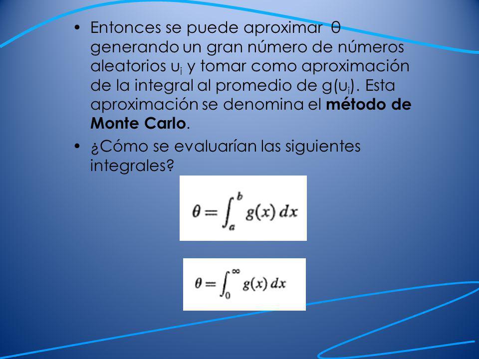Entonces se puede aproximar θ generando un gran número de números aleatorios u i y tomar como aproximación de la integral al promedio de g(u i ). Esta