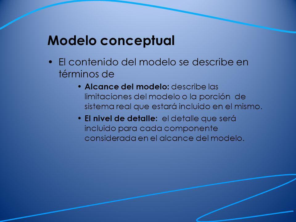 Modelo conceptual Mantener el modelo simple: es la clave de una buena modelación.