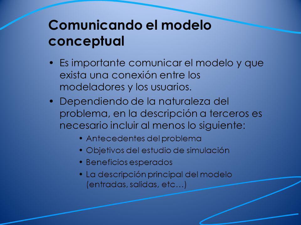 Comunicando el modelo conceptual Experimentación: los escenarios que serán considerados.