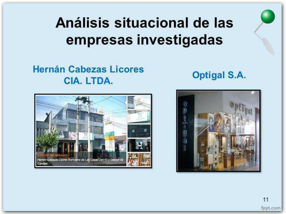 Análisis situacional de las empresas investigadas 11 Hernán Cabezas Licores CIA. LTDA. Optigal S.A.
