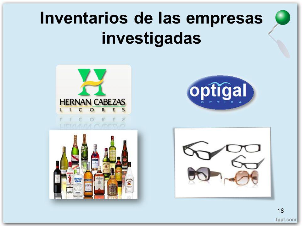 Inventarios de las empresas investigadas 18