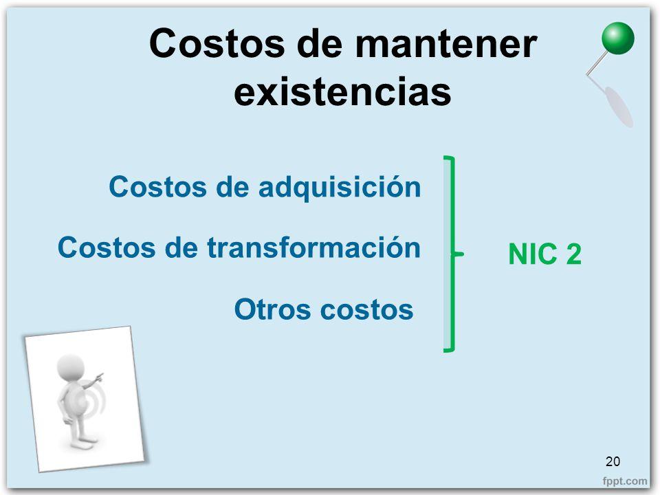 Costos de mantener existencias 20 Costos de adquisición Costos de transformación Otros costos NIC 2