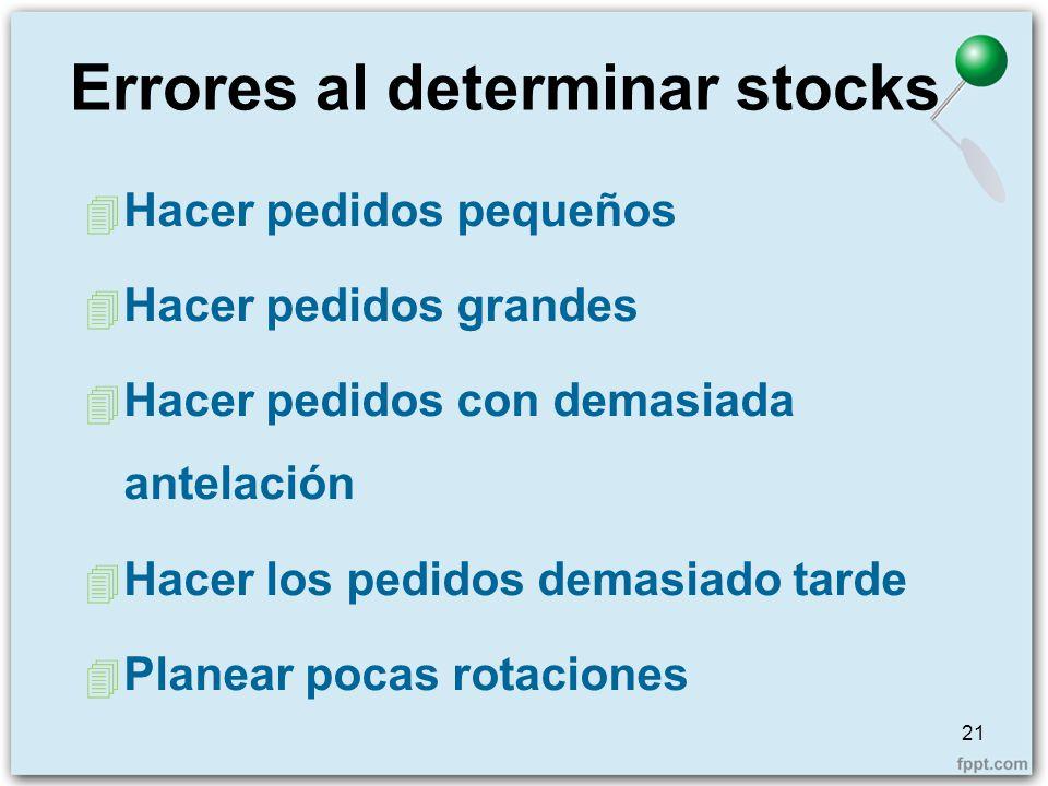 Errores al determinar stocks 4 Hacer pedidos pequeños 4 Hacer pedidos grandes 4 Hacer pedidos con demasiada antelación 4 Hacer los pedidos demasiado t