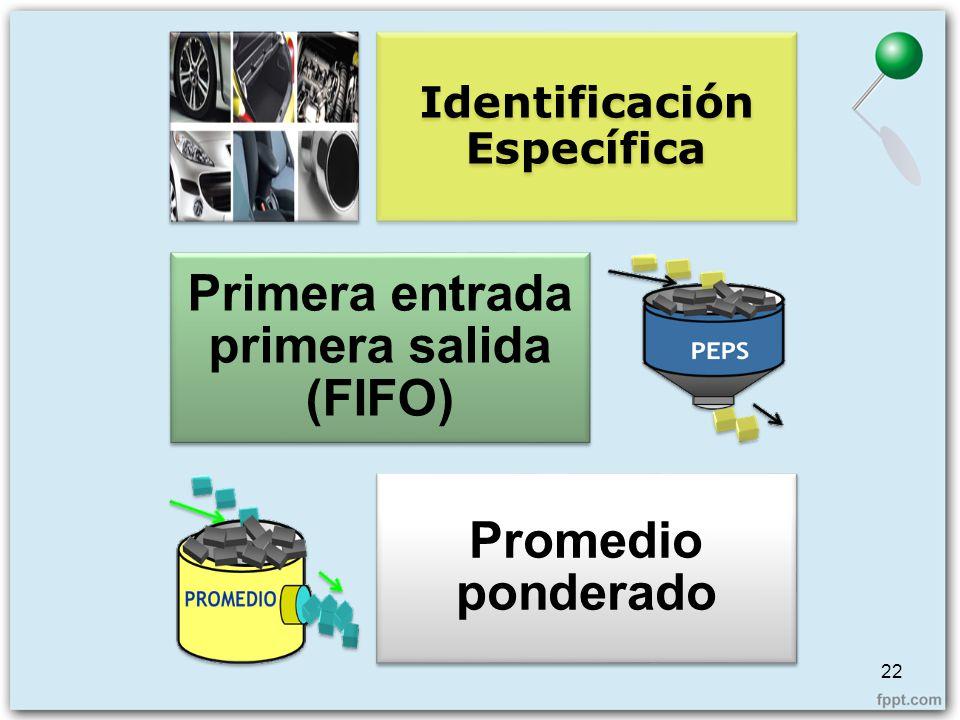 22 Identificación Específica Primera entrada primera salida (FIFO) Promedio ponderado