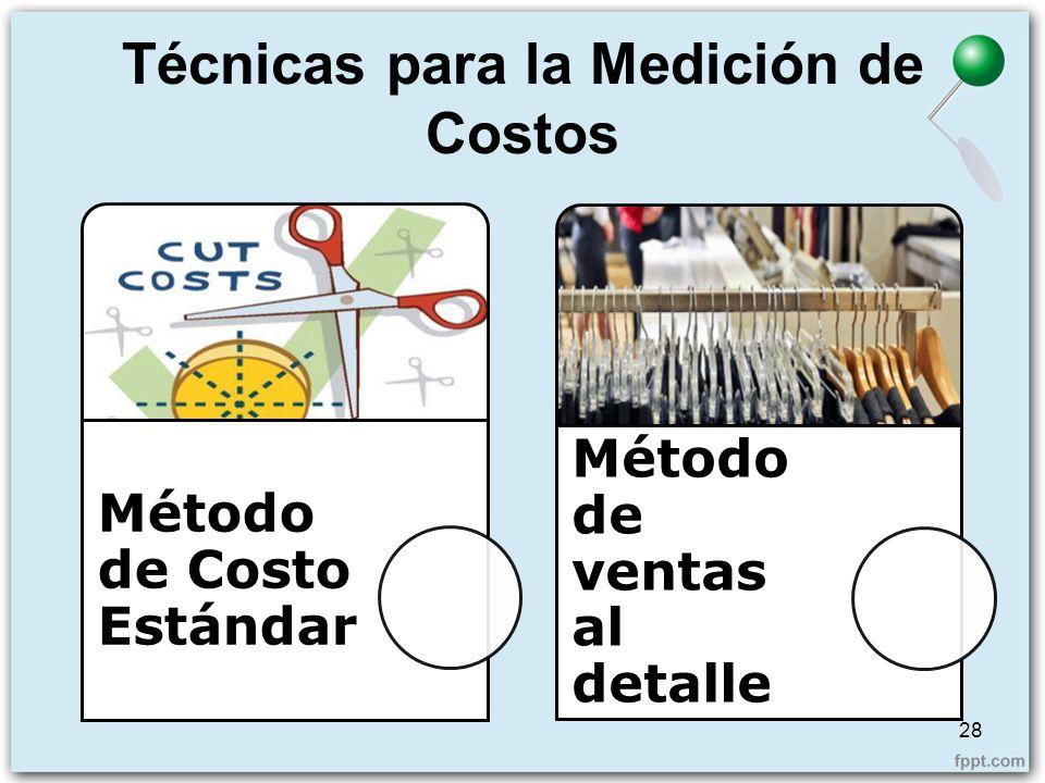 Técnicas para la Medición de Costos 28 Método de Costo Estándar Método de ventas al detalle