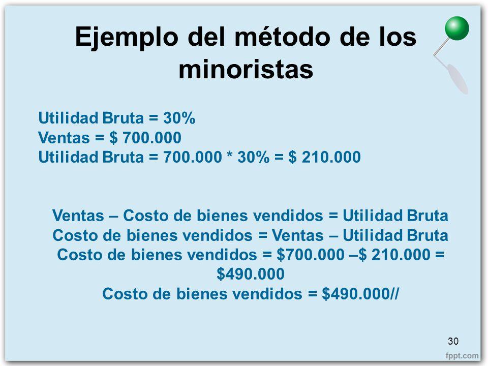 Ejemplo del método de los minoristas 30 Utilidad Bruta = 30% Ventas = $ 700.000 Utilidad Bruta = 700.000 * 30% = $ 210.000 Ventas – Costo de bienes ve