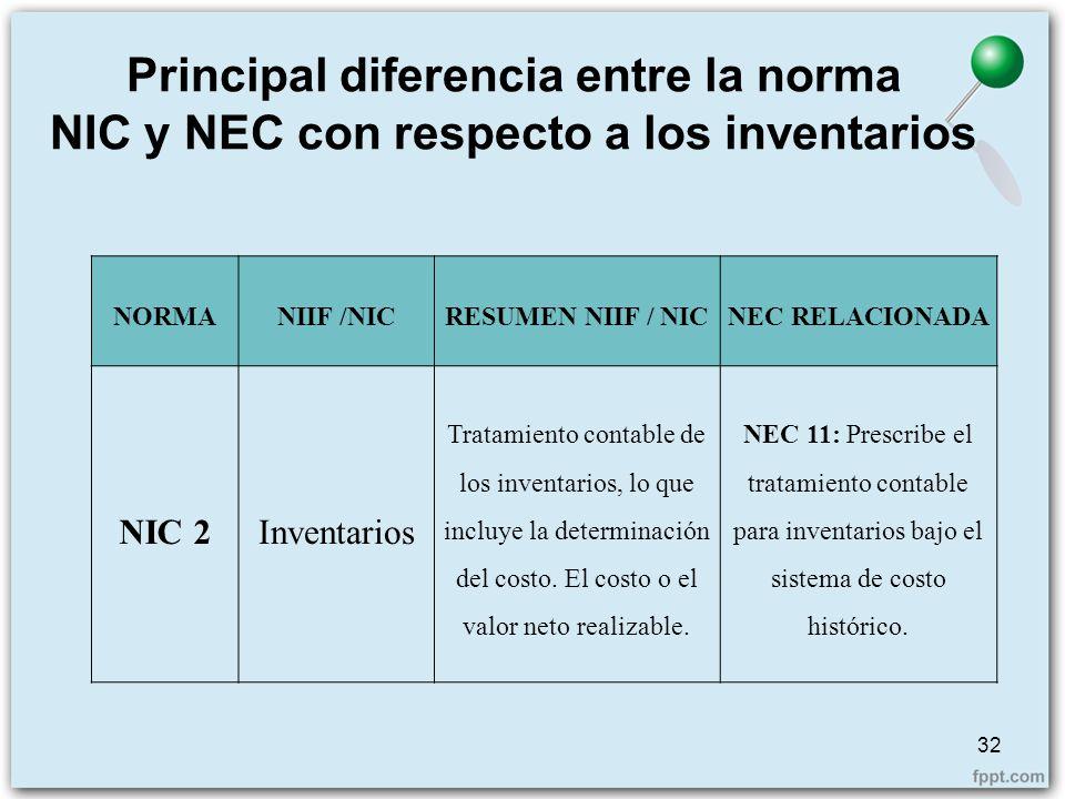 Principal diferencia entre la norma NIC y NEC con respecto a los inventarios 32 NORMANIIF /NICRESUMEN NIIF / NICNEC RELACIONADA NIC 2Inventarios Trata