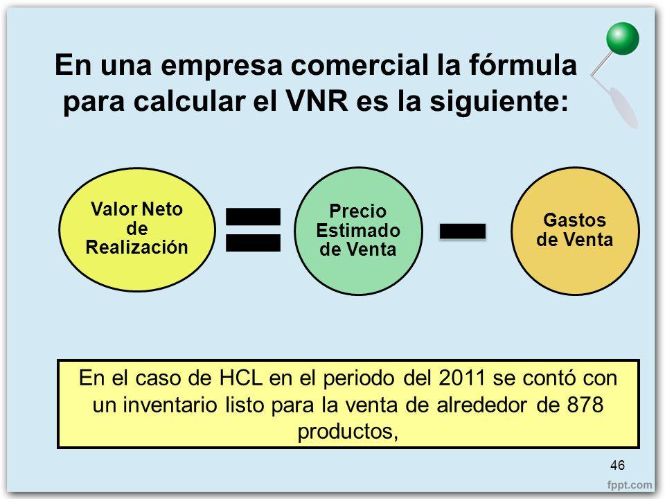 En una empresa comercial la fórmula para calcular el VNR es la siguiente: Valor Neto de Realización Precio Estimado de Venta Gastos de Venta En el cas