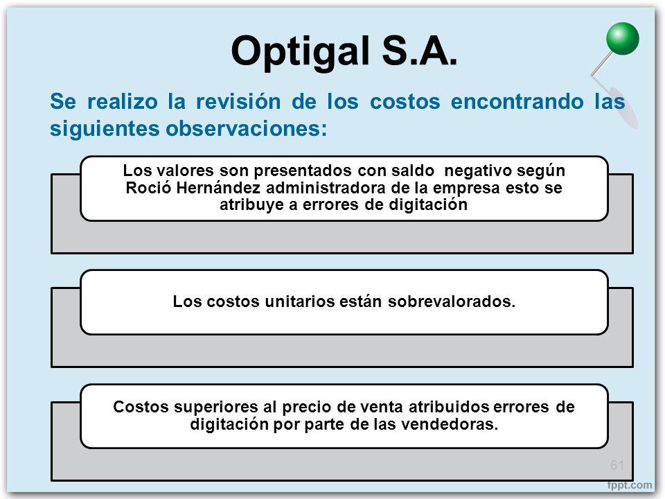 Se realizo la revisión de los costos encontrando las siguientes observaciones: Optigal S.A. 61 Los valores son presentados con saldo negativo según Ro