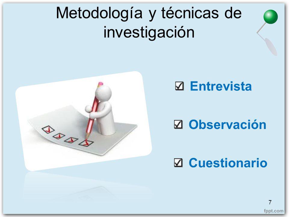Metodología y técnicas de investigación 7 Observación Entrevista Cuestionario