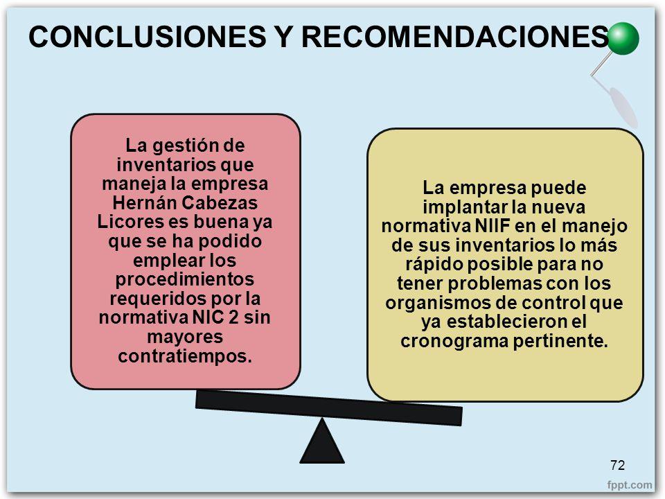 La gestión de inventarios que maneja la empresa Hernán Cabezas Licores es buena ya que se ha podido emplear los procedimientos requeridos por la norma