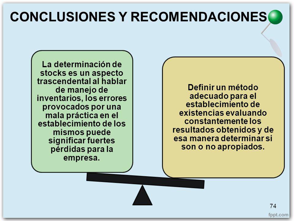 CONCLUSIONES Y RECOMENDACIONES La determinación de stocks es un aspecto trascendental al hablar de manejo de inventarios, los errores provocados por u