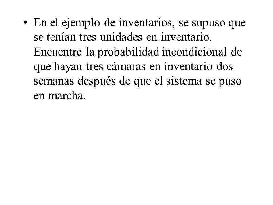 En el ejemplo de inventarios, se supuso que se tenían tres unidades en inventario. Encuentre la probabilidad incondicional de que hayan tres cámaras e