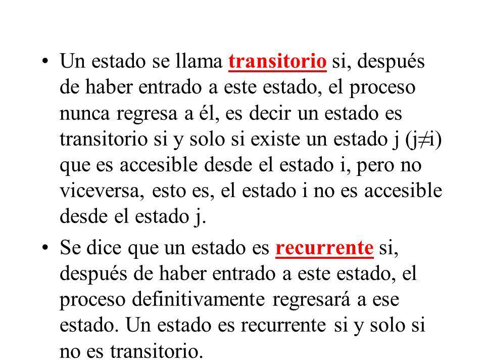 Un estado se llama transitorio si, después de haber entrado a este estado, el proceso nunca regresa a él, es decir un estado es transitorio si y solo