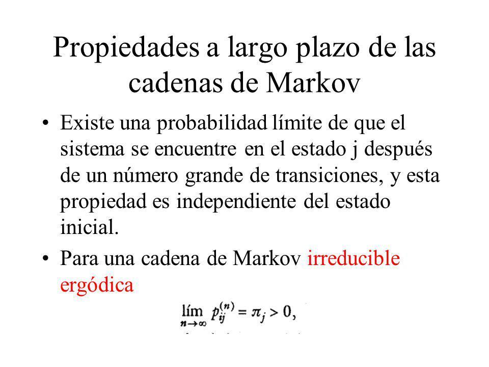 Propiedades a largo plazo de las cadenas de Markov Existe una probabilidad límite de que el sistema se encuentre en el estado j después de un número g