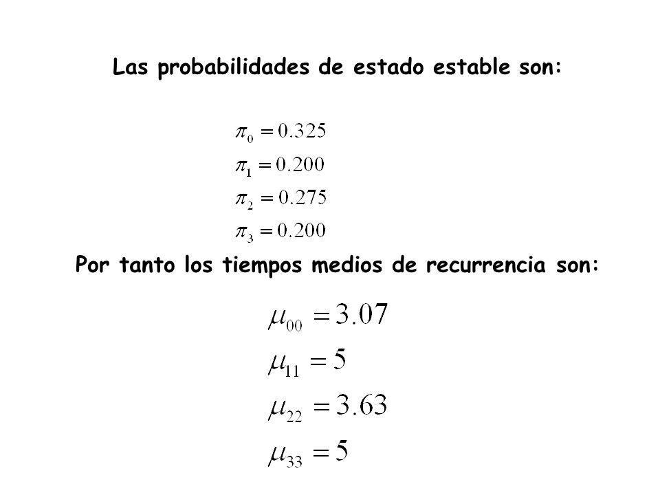 Las probabilidades de estado estable son: Por tanto los tiempos medios de recurrencia son: