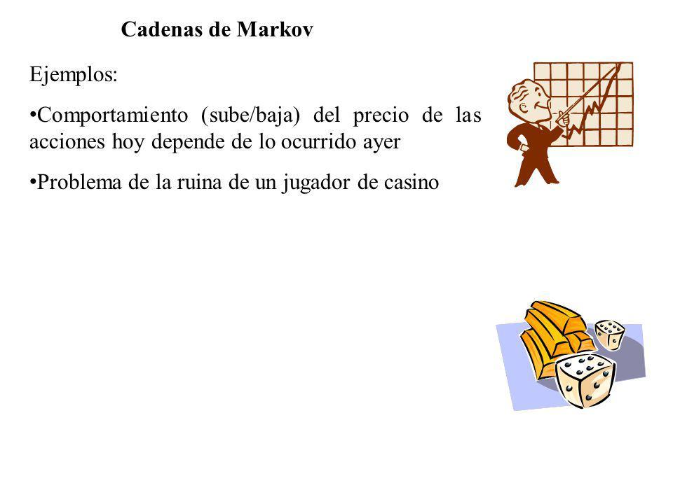 Cadenas de Markov Ejemplos: Comportamiento (sube/baja) del precio de las acciones hoy depende de lo ocurrido ayer Problema de la ruina de un jugador d