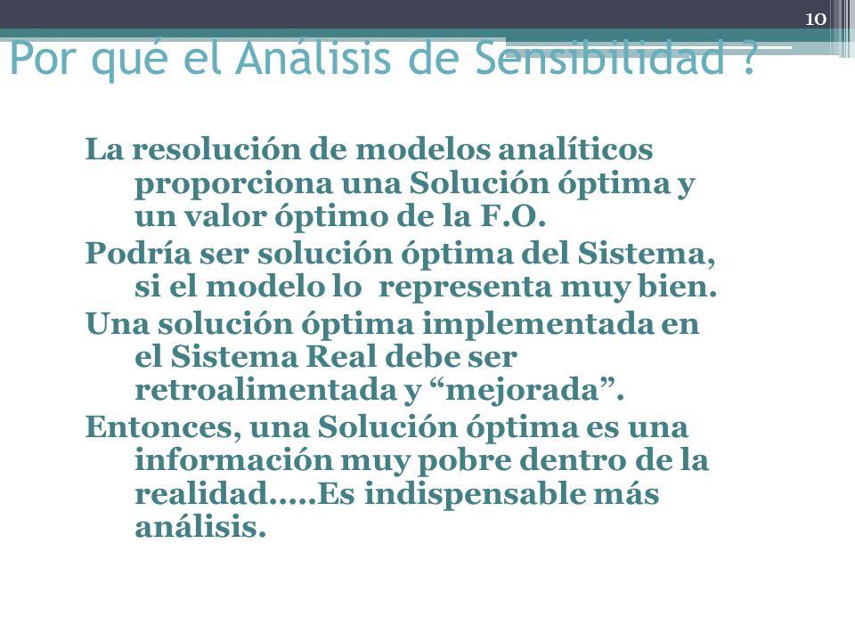Por qué el Análisis de Sensibilidad ? Ciertos valores empleados en el modelo pueden ser DECISIONES DE GERENCIA. Se debe investigar el rango en el cual