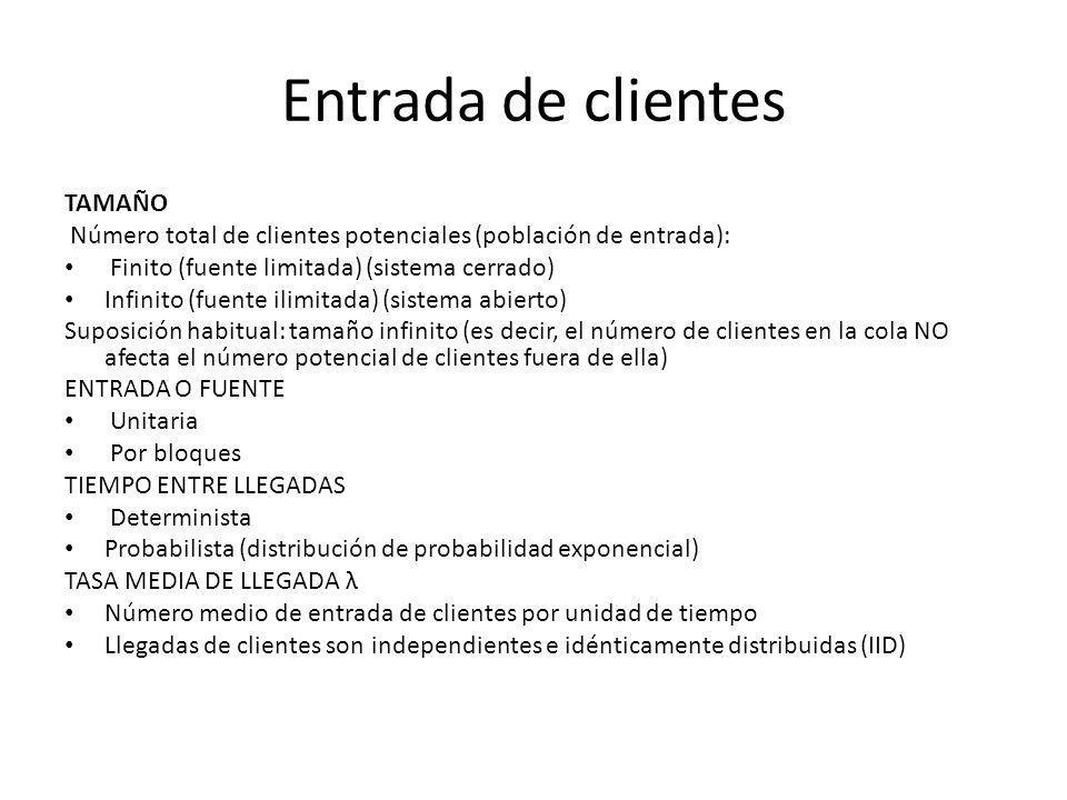 Entrada de clientes TAMAÑO Número total de clientes potenciales (población de entrada): Finito (fuente limitada) (sistema cerrado) Infinito (fuente il