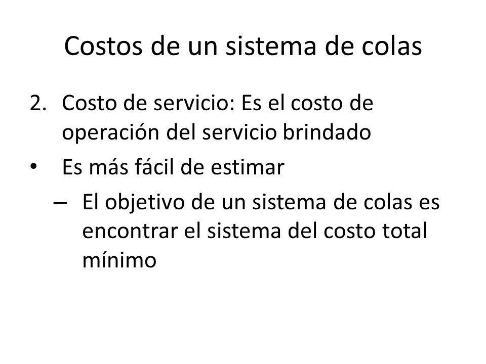 Costos de un sistema de colas 2.Costo de servicio: Es el costo de operación del servicio brindado Es más fácil de estimar – El objetivo de un sistema de colas es encontrar el sistema del costo total mínimo