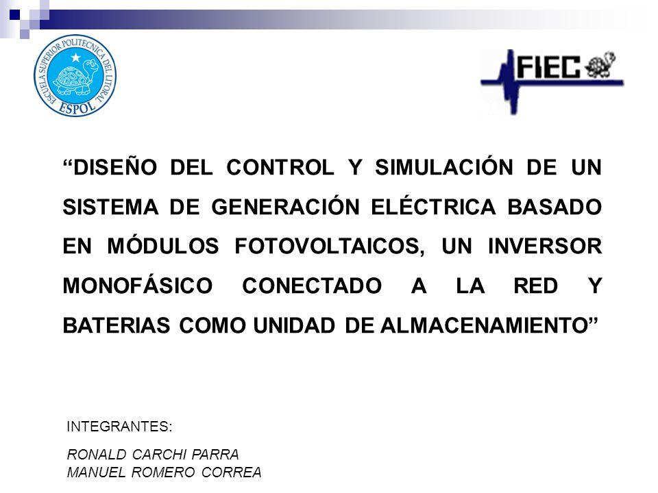 CONTENIDO Planteamiento del Problema Propuesta de Solución Descripción del Sistema de Generación Dimensionamiento y Modelamiento Diseño del Control Funcionamiento Conclusiones y Recomendaciones
