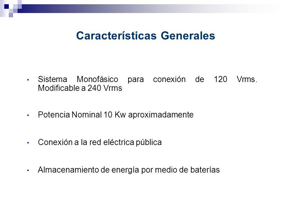Características Generales Sistema Monofásico para conexión de 120 Vrms. Modificable a 240 Vrms Conexión a la red eléctrica pública Almacenamiento de e
