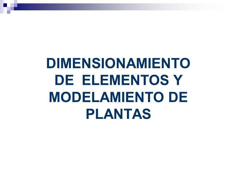 DIMENSIONAMIENTO DE ELEMENTOS Y MODELAMIENTO DE PLANTAS
