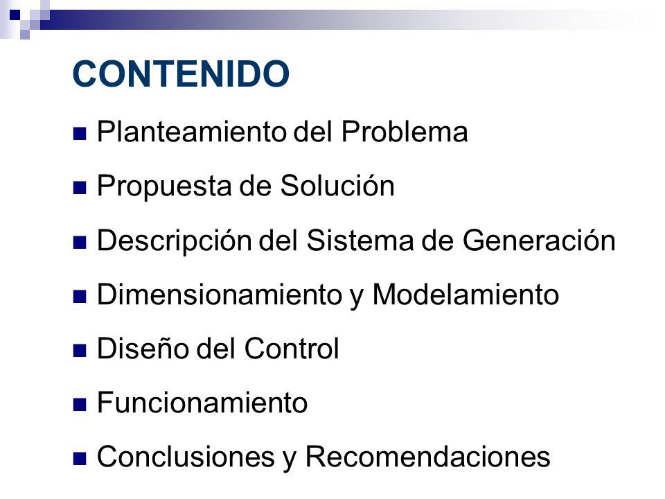 CONTENIDO Planteamiento del Problema Propuesta de Solución Descripción del Sistema de Generación Dimensionamiento y Modelamiento Diseño del Control Fu