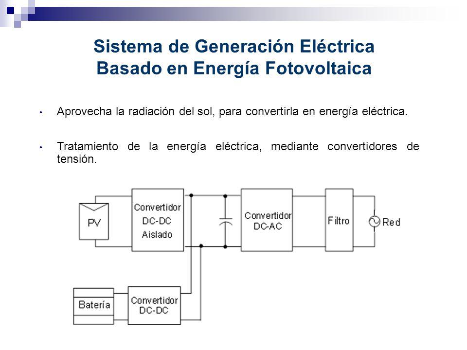 Aprovecha la radiación del sol, para convertirla en energía eléctrica. Sistema de Generación Eléctrica Basado en Energía Fotovoltaica Tratamiento de l