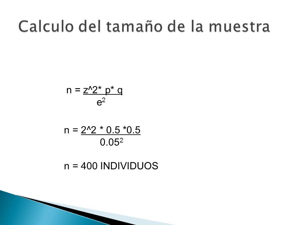 n = z^2* p* q e 2 n = 2^2 * 0.5 *0.5 0.05 2 n = 400 INDIVIDUOS