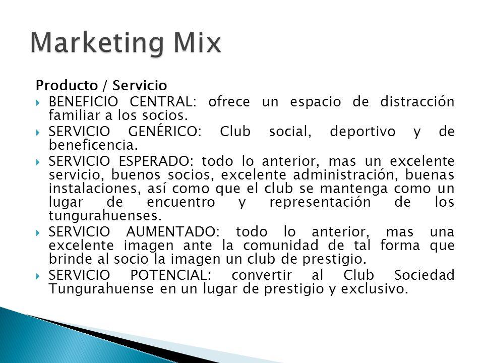 Producto / Servicio BENEFICIO CENTRAL: ofrece un espacio de distracción familiar a los socios. SERVICIO GENÉRICO: Club social, deportivo y de benefice