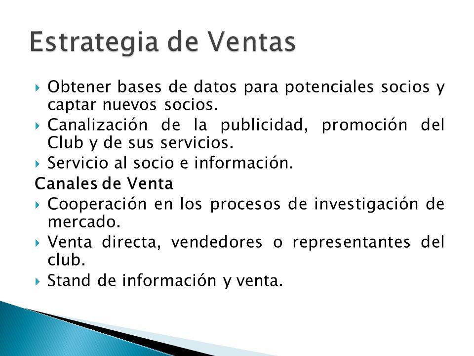 Obtener bases de datos para potenciales socios y captar nuevos socios. Canalización de la publicidad, promoción del Club y de sus servicios. Servicio