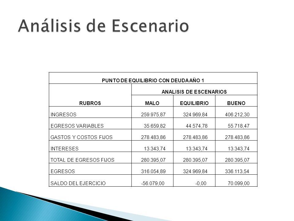 PUNTO DE EQUILIBRIO CON DEUDA AÑO 1 RUBROS ANALISIS DE ESCENARIOS MALOEQUILIBRIOBUENO INGRESOS 259.975,87 324.969,84 406.212,30 EGRESOS VARIABLES 35.6