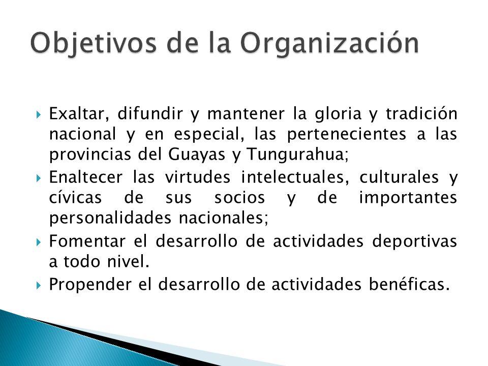 Exaltar, difundir y mantener la gloria y tradición nacional y en especial, las pertenecientes a las provincias del Guayas y Tungurahua; Enaltecer las virtudes intelectuales, culturales y cívicas de sus socios y de importantes personalidades nacionales; Fomentar el desarrollo de actividades deportivas a todo nivel.