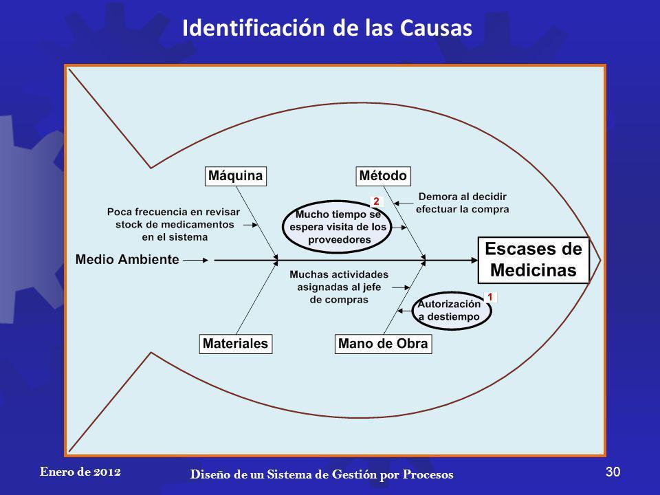 Enero de 2012 30 Diseño de un Sistema de Gestión por Procesos Identificación de las Causas